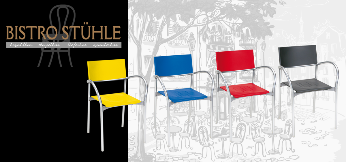 Bistro-Stühle: Designer-Stühle, Barhocker, Stapelstühle…